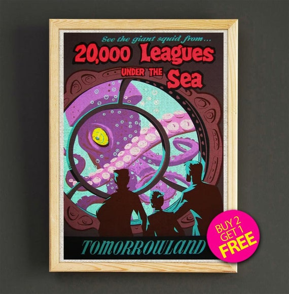 """Vintage Disney 20,000 LEAGUES    8.5/"""" x 11/""""  poster"""
