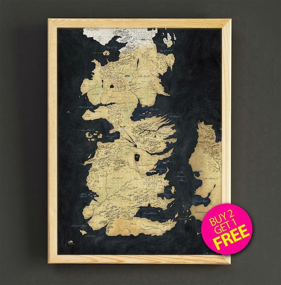 Game of thrones map print vintage world map art print poster etsy gumiabroncs Gallery