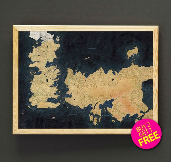 The known world map print game of thrones map art print poster etsy gumiabroncs Gallery