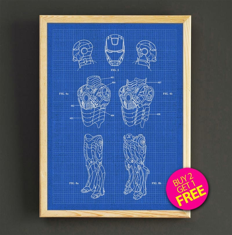Avenger iron man patent poster iron man blueprint art print etsy zoom malvernweather Choice Image