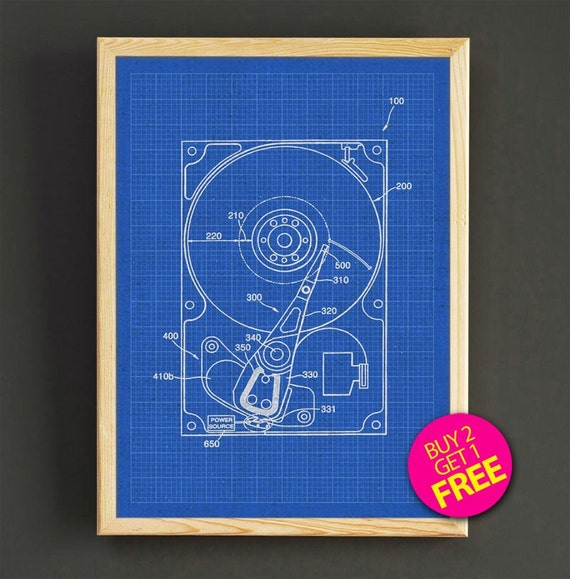 Hard Drive Schematic Diagram Patent Wall Art Hard Drive Blueprint Poster on
