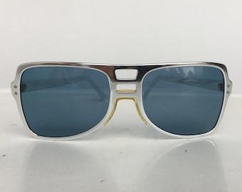 e68c4b7a76 Vintage Cool-Ray Fast Back 420 Sunglasses - Blue Lenses Silver Aluminum  Frame Aviator Style - 70s Mens Sunglasses Johnny Depp Blow Costume