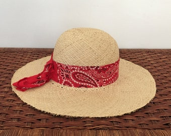 1fd23e431d473 Vintage Sun Hat - Woven Straw Sun Hat with Red Bandana - Wide Brim Boho Straw  Hat - Rustic Women s Hippie Hat Paisley Band