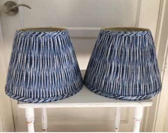 2 Vintage Pleated Lamp Shades Indigo Blue Lamp Shades Boho Belled Lampshades Hippie Pair of Blue Lamp Shades Bedside Cotton Rustic