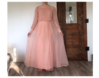 04db48636ae Miss Elliete Sheer Blush Peach Lace Dress- 50s Chiffon Evening Gown-Long A  Line Scalloped Lace Vintage Dress