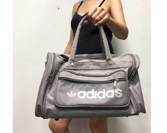 3d7ca0d25adf Vintage Adidas Duffle Bag - Grey 80s Adidas Gym Bag - Small Carry On  Luggage - Overnight Bag - Sports Weekender Nylon Light Gray