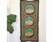 Peacock Art Kalaga Panel Burmese Needlework Peacocks Embroidery Asian Textile Hanging Boho Hippie Wall Tapestry Bird Peacock Art