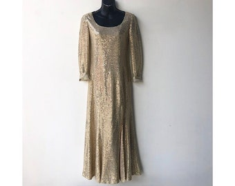 e32e32bf46e Vintage Gold Sequin Gown - Front Slit Maxi Dress - Long Sleeve Sequined  Sparkly Maxi Dress - Floor Length Evening Gown Gold 70s Disco