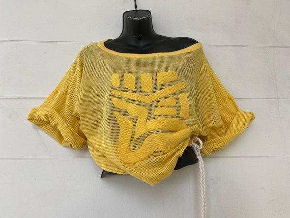 Vintage Mesh Fishnet Shirt 80s Women's Yellow Rave