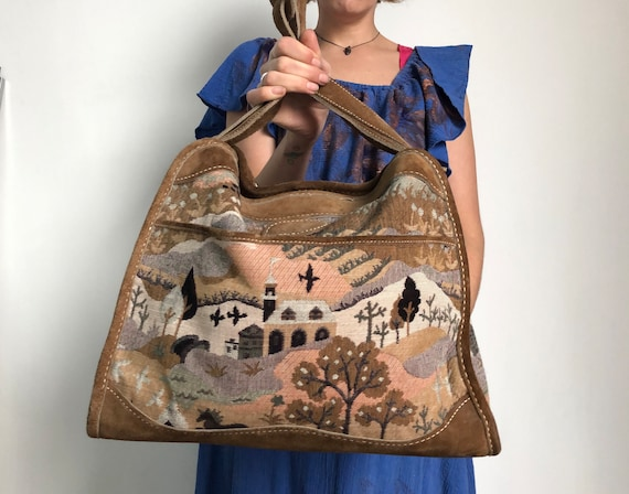 dd2dc03ee17 Vintage Tapestry and Leather Weekender Bag by The French   Etsy