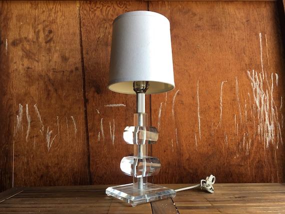Vintage Lucite Table Lamp Minimalist Lamp Mid Century Lamp Minimalist Table Lamp Geometric Accent Lamp Mid Century Modern Accent