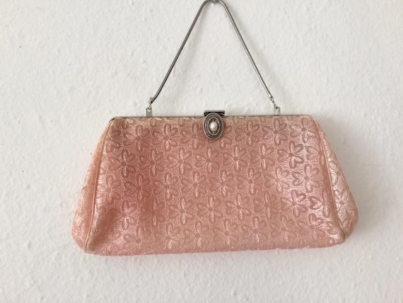 fb6ef4f7bee Vintage Pink Plastic Lace Clutch Boho Evening Clutch Purse   Etsy
