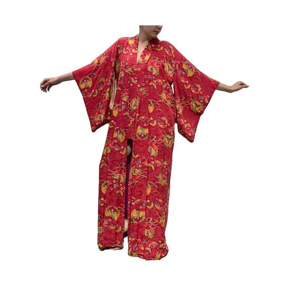 Vintage Kimono 1930s Yakata Japanese Kimono Robe R