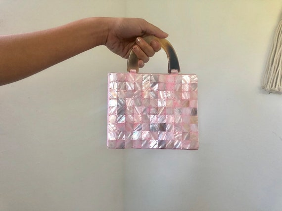 Pink Pearl Square Button Sewn Vintage Clutch Small