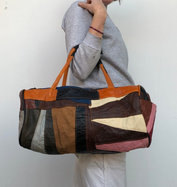2d0d90160c8 Vintage Leather Patchwork Duffle Bag Colorful 70s Hippy   Etsy