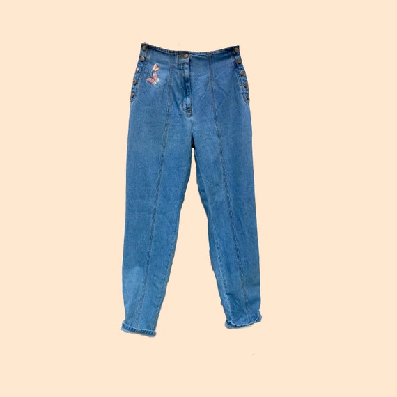 Y2K jeans with Butterfly Embroidery Tapered Front