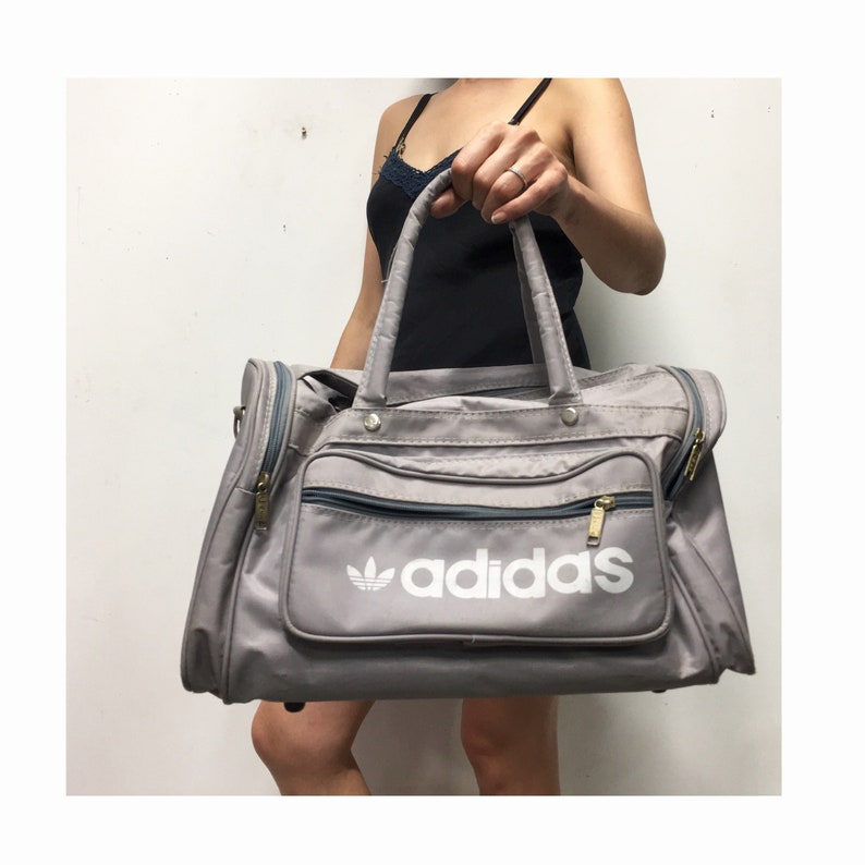 Vintage Adidas Duffle Bag Grey 80s Adidas Gym Bag Small  6f4cd59d287bf