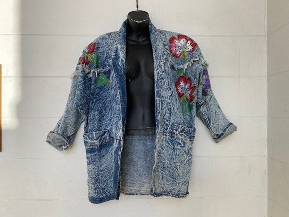 Vintage Acid Wash Denim Jacket - Painted Floral Fl