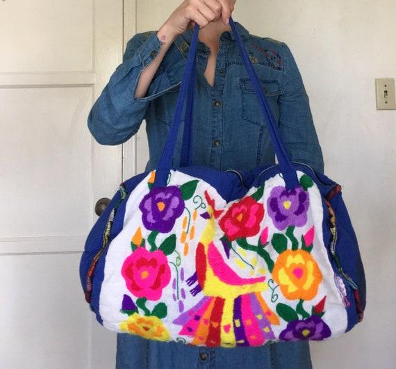 d4942c1b52d Vintage 70s Embroidered Weekender Bag Boho Floral Cotton   Etsy