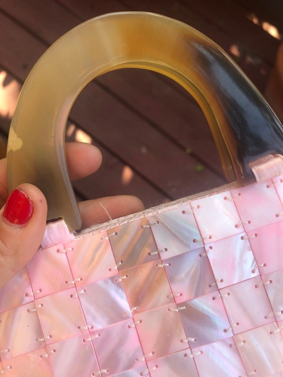 Pink Pearl Square Button Sewn Vintage Clutch Smal… - image 4