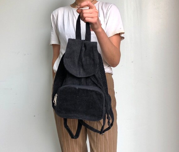 86f839f7ef8 Vintage Black Mini Backpack Corduroy 90s Small Backpack   Etsy