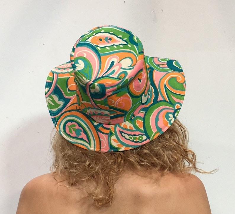 Vintage Hat 70s womens floppy Hat paisley print Retro Hippy hippie ... 8fdbdf814edf