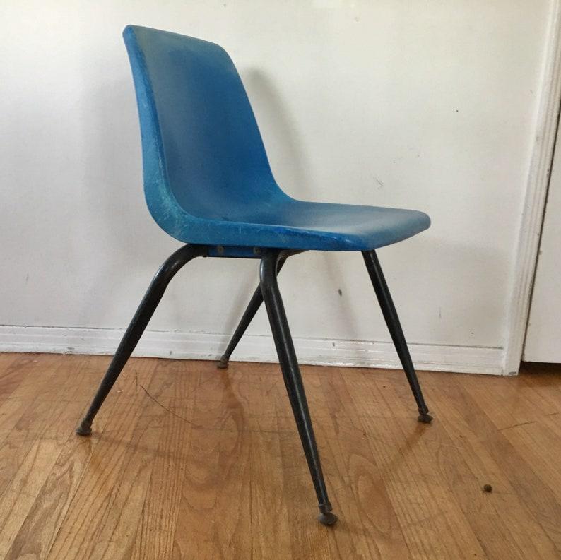 vintage blue desk chair retro plastic chair school desk etsy rh etsy com school desk chair feet school desk chair for sale