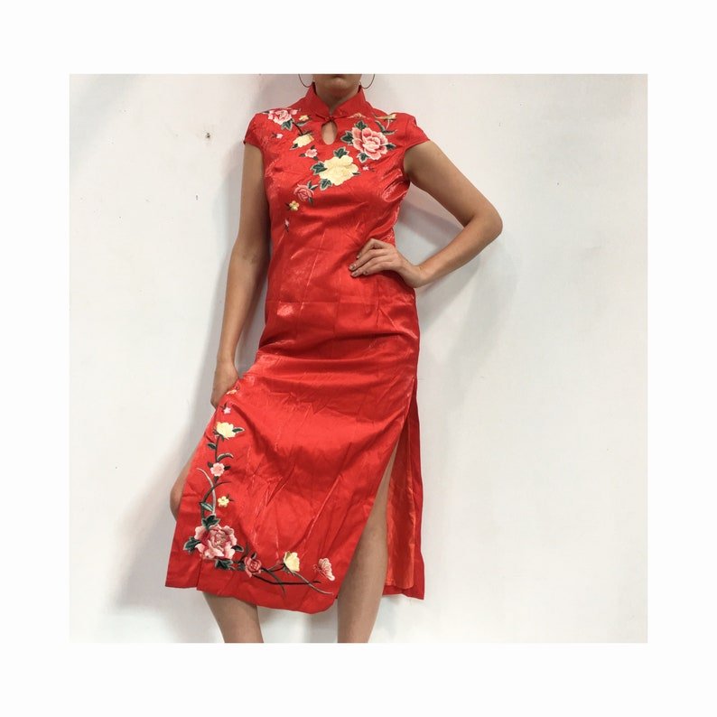 1fe70459da4 Vintage Chinese Dress Red Embroidered Dress with Slits