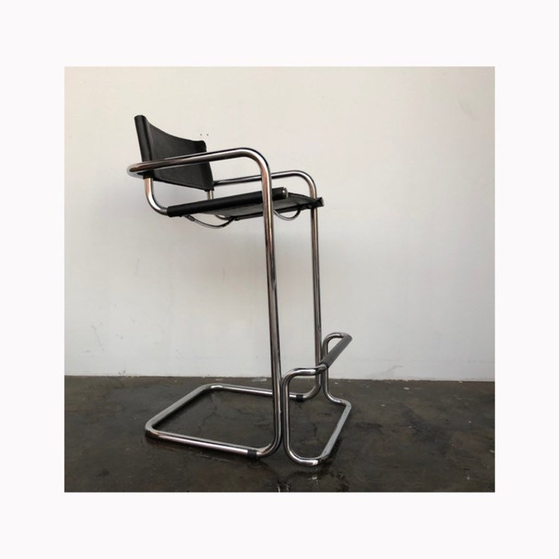 Astonishing Black Leather And Chrome Mid Century Modern Bar Stool Tall Chair Squirreltailoven Fun Painted Chair Ideas Images Squirreltailovenorg