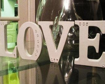 LOVE Letters.  White freestanding 'love' letters