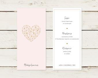 50x menu card | A4 lang | Gold print | Heart | No 2