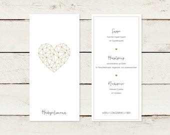 50x menu card | A4 lang | Gold print | Heart | No 1