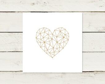 50x Wedding Invitation | Gold print | Heart | No 1