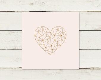50x Wedding Invitation | Gold print | Heart | Rose Quartz