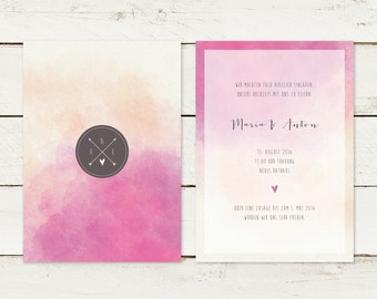 50 x wedding invitation | Watercolor