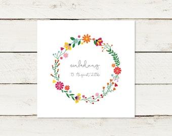 20x Wedding Invitation | Square | Flower Wreath