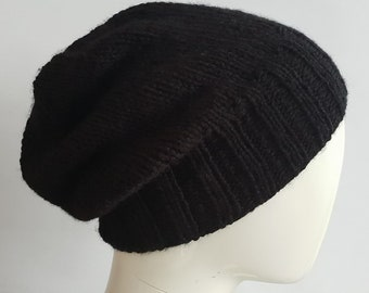 Black slouch beanie - black hat - slouch beanie - unisex hat - knitwear - ladies hat - mens hat - teenager hat - ladies black hat