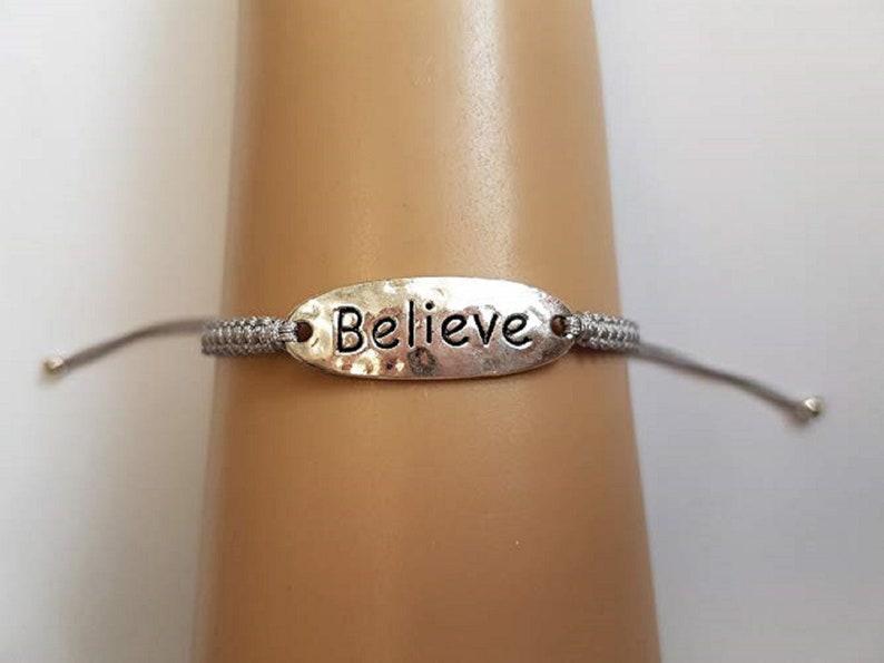 Believe bracelet  believe charm  inspirational bracelet  Gray