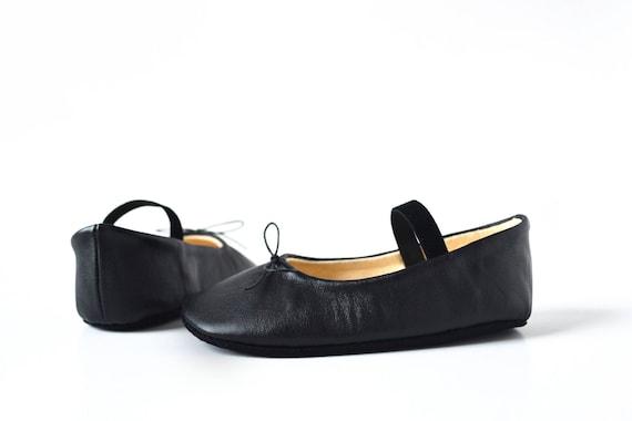 Black baby ballerina shoes Baby girl