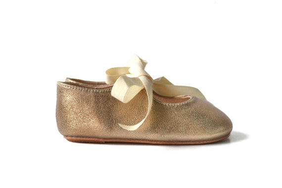 Toddler girl gold leather shoes Baby