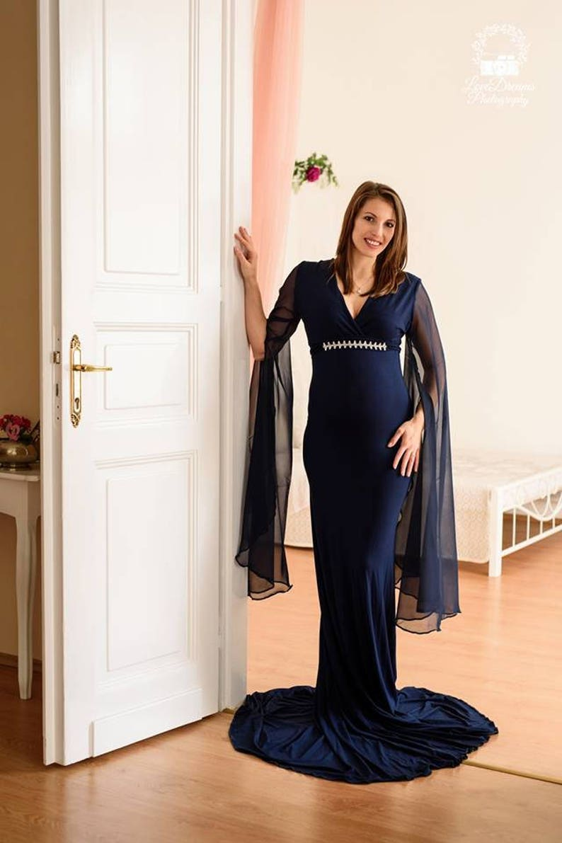 743a44cf3d776 Navy Blue Full Lenght Jersey Maternity Dress Maternity Gown | Etsy