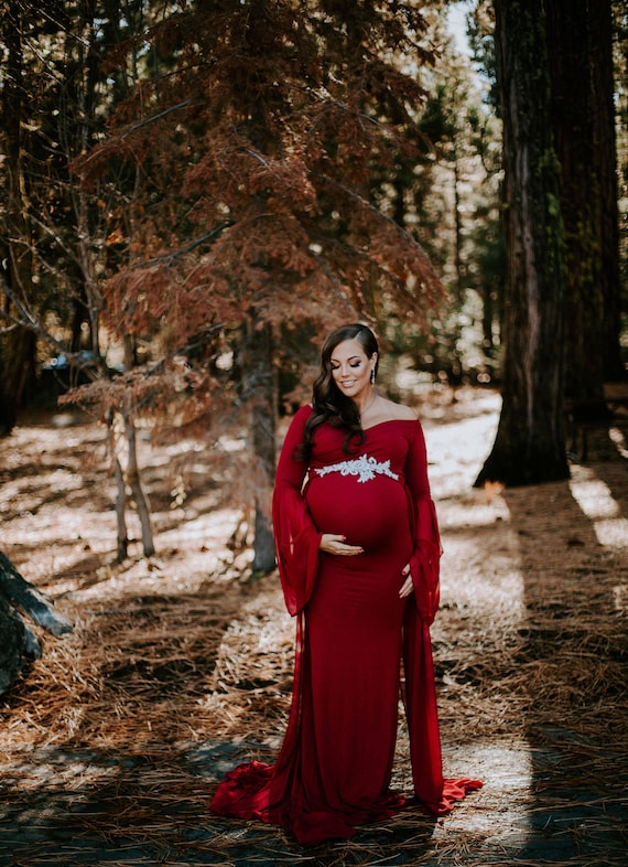 dfe16f9f346 Claret full lenght jersey maternity dress for photo shoot