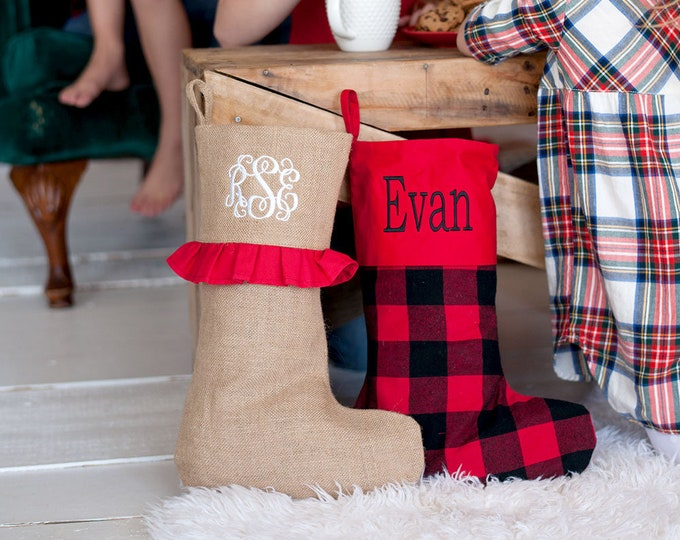 Featured listing image: Monogrammed Christmas  Stocking ~ Christmas stockings ~ Plaid Christmas stocking