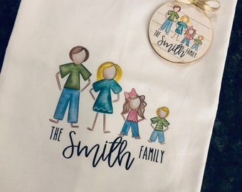 Personalized Tea Towel ~ Kitchen towel and ornament ~ Family kitchen towel ~ Stick Figure create your family