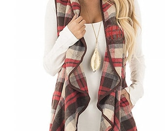 Monogrammed Vest ~ Waterfall Vest ~ Brown, Cream and Red Plaid ~ Perfect gift