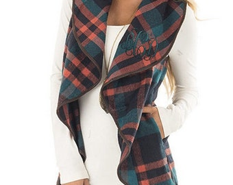 Monogrammed Vest ~ Waterfall Vest ~ Green, Orange and Brown Plaid ~ Perfect gift