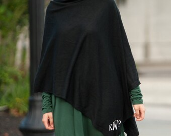 Monogrammed poncho in Black ~ Perfect Gift ~ Personalized Scarves, Shawls and Ponchos