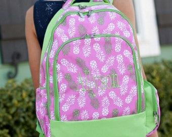 Monogrammed Pink pineapple Backpack ~ Monogrammed girls backpack ~ Back to school backpack