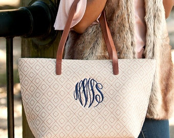 Monogrammed Diamond Charlotte purse ~ Monogrammed canvas purse ~ Cream purse