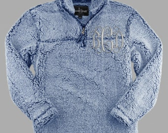 Sherpa Quarter Zip Frosted Navy Monogrammed Pullover